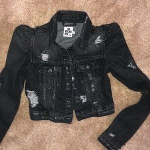 Black dark wash distressed Cropped Jacket